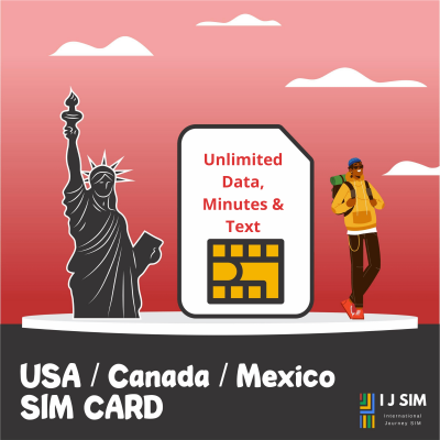 I J SIM USA, Canada, Mexico 30GB Data, unlimited minutes and texts for 15 days SIM Card (T-Mobile)