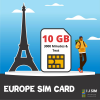I J SIM EUROPE 10 GB data, 3000 minutes and text for 30 days SIM Card