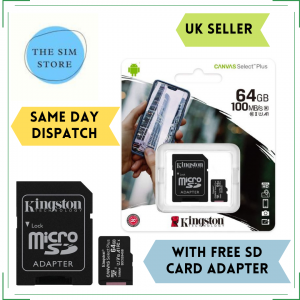 I J SIM Kingston 64 GB MicroSD Card with Adapter